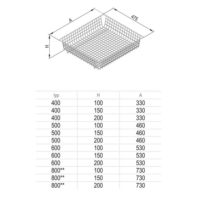 Корзина MD 600, H=200, графит, Rejs