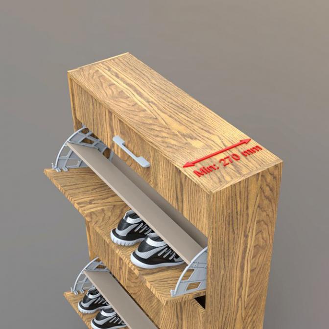Полка для обуви Shocab двухсекционная пластиковая, антрацит, Mesan