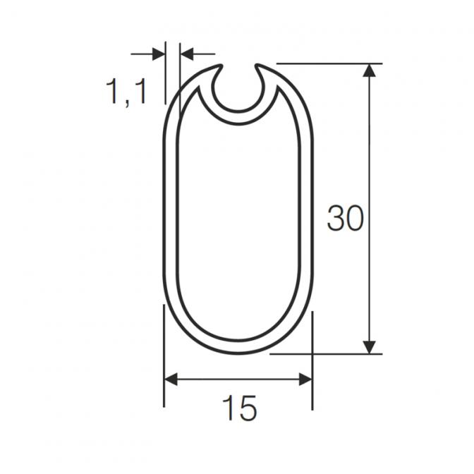 Штанга для одежды 3000 мм, с резиновой вставкой, алюминий, Mesan