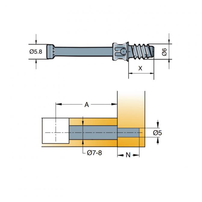 Стяжка эксцентрик Cam: винт, 5х34 мм, TIitus