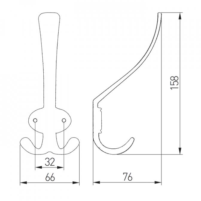 Крючок Coruna, большой, античная латунь, GTV