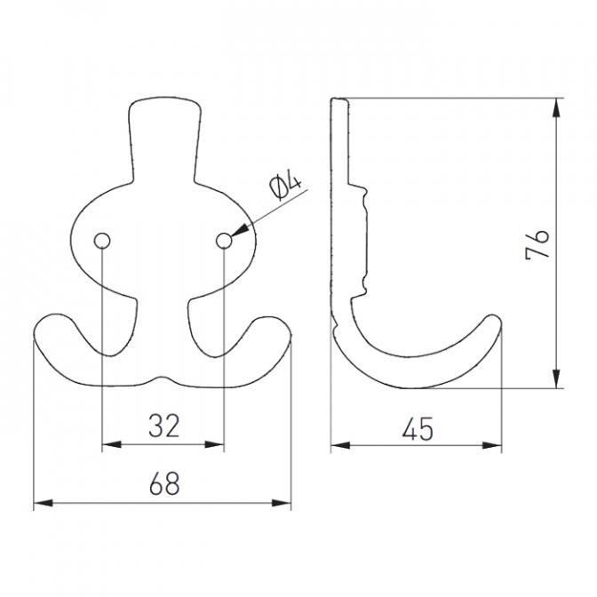 Крючок Coruna, малый, античная латунь, GTV