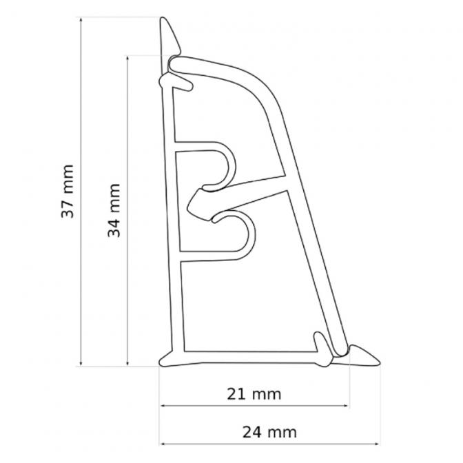 Плинтус LB-37 Алюминий 310, 4200 мм, Korner