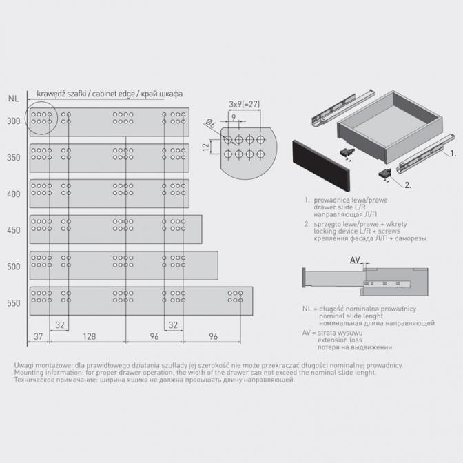 Направляющие скрытые 400 мм, с доводчиком, 3D, (16-18 мм) GTV
