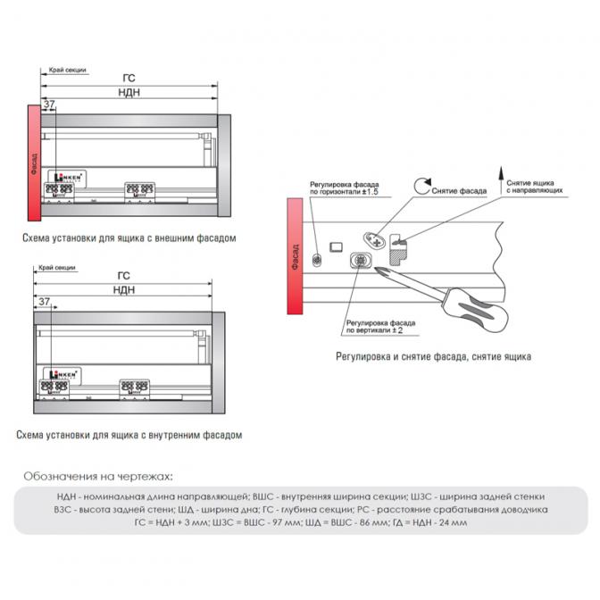 Тандембокс LS, L=500 мм, H=94 мм