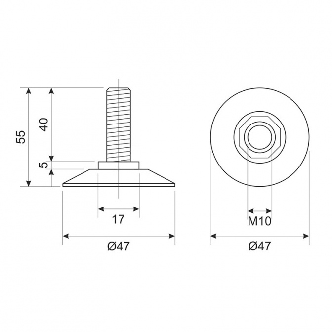 Ножка регулируемая М10х44 с ответной планкой, белая