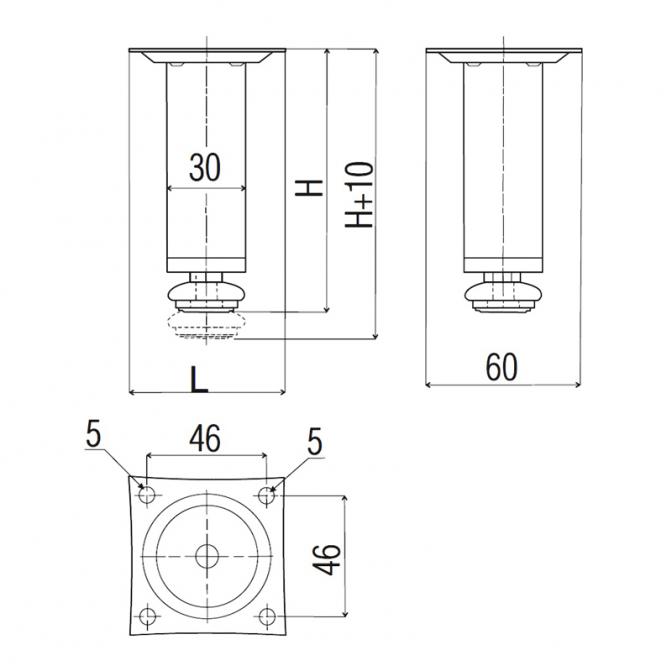 Ножка металлическая NL 05, D=30, H=80, хром