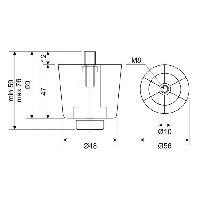 Ножка регулируемая D=50, H=47, пластик