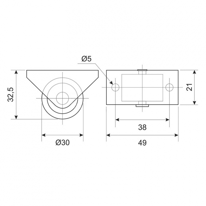 Ролик для мягкой мебели H=32,5, D=30, пластик