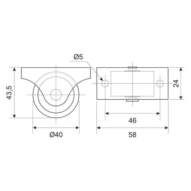 Ролик для мягкой мебели H=43,5, D=40, пластик