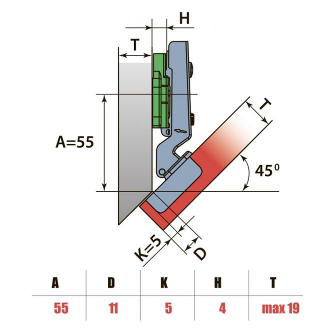 Петля угловая -45, Clip-On, Linken System
