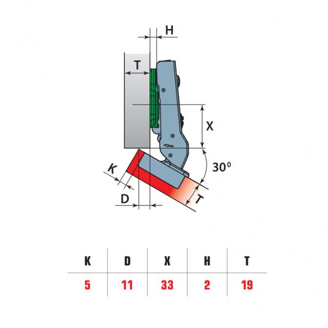 Петля угловая 30, Soft Close, Linken System