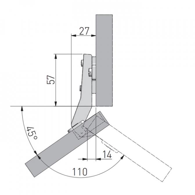 Петля угловая 45, GTV