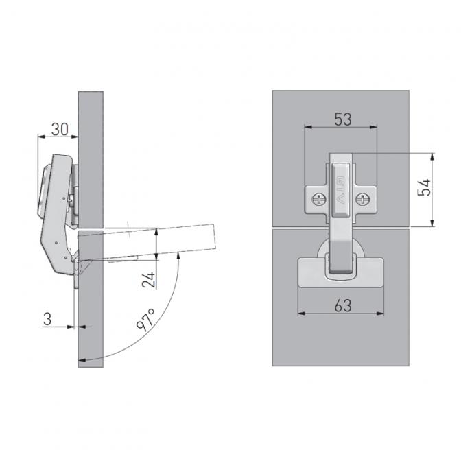 Петля 180 равнолежащая, с доводчиком, GTV