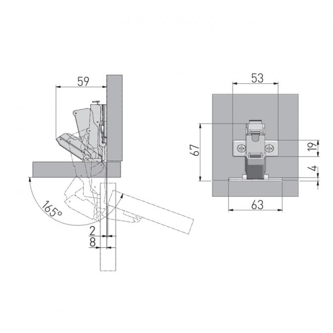 Петля 165 GTV с газ. амортизатором, робот
