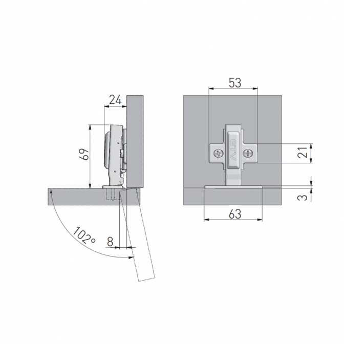 Петля накладная GTV с газ. амортизатором