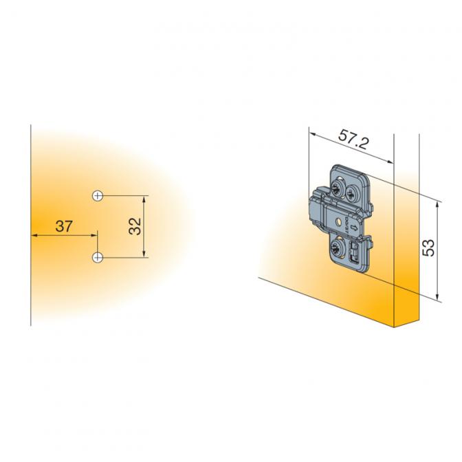 Монтажная планка T-Type, H=3 мм, Clip-On, эксцентрик, Titus