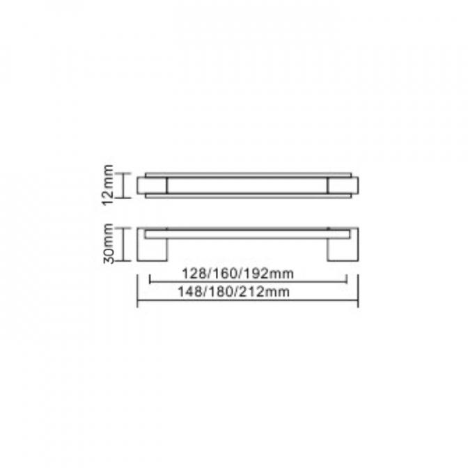 Ручка мебельная D-450, 96 мм, венге/хром, DC