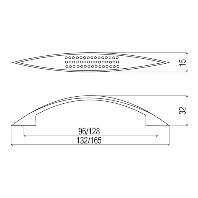 Ручка мебельная DN-88, 128 мм, сатин, DC (OL)