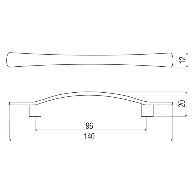 Ручка мебельная DN-06, 96 мм, золото, DC (OL)