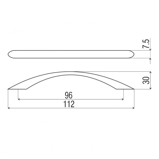 Ручка мебельная DP-82, 96 мм, хром, DC (OL)