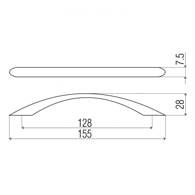 Ручка мебельная DP-81, 128 мм, алюминий, DC (OL)