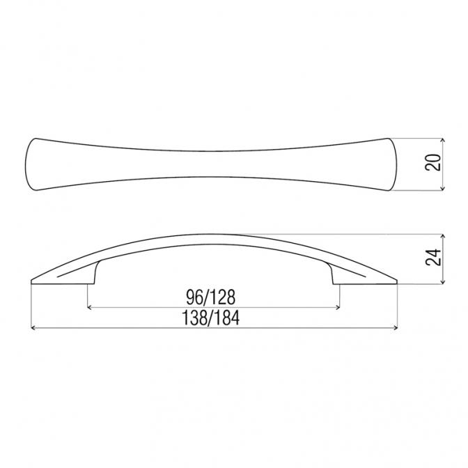 Ручка мебельная DN-90, 96 мм, золото, DC (OL)
