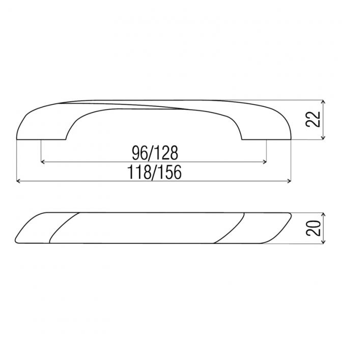Ручка мебельная DN-92, 96 мм, сатин, DC (OL)