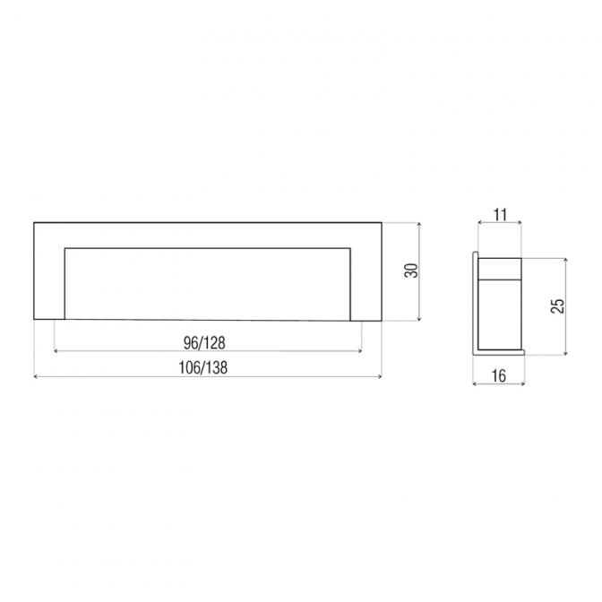 Ручка мебельная DN-50, 128 мм, хром, DC