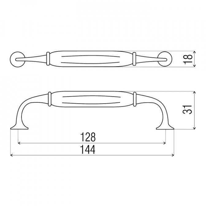 Ручка мебельная D-126, 128 мм, бронза, DC (OL)