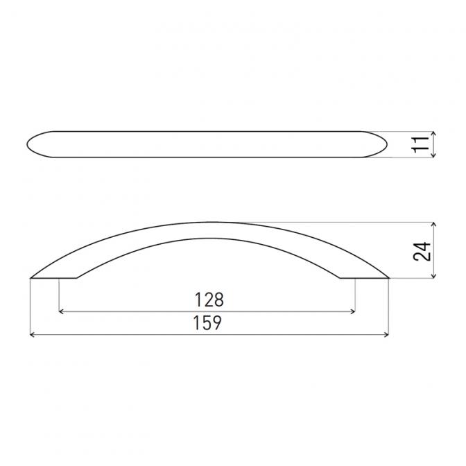 Ручка мебельная DS-26, 128 мм, чёрный хром, DC (OL)