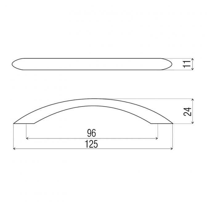 Ручка мебельная DS-26, 96 мм, чёрный хром, DC (OL)