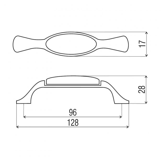"""Ручка мебельная DP-193 """"Венок"""", 96 мм, бронза, DC (OL)"""