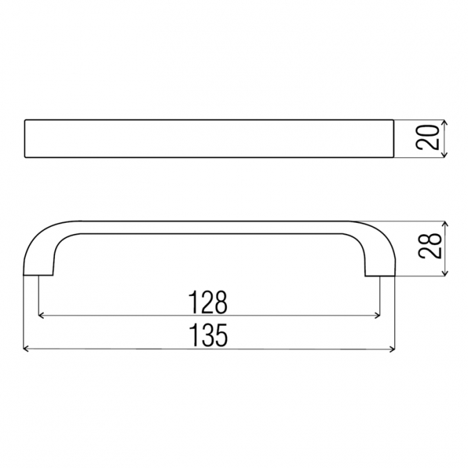 Ручка мебельная DN-94, 128 мм, алюминий, DC (OL)