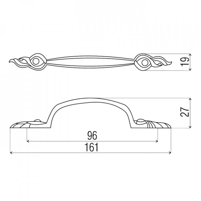 Ручка мебельная 1061, 96 мм, медь