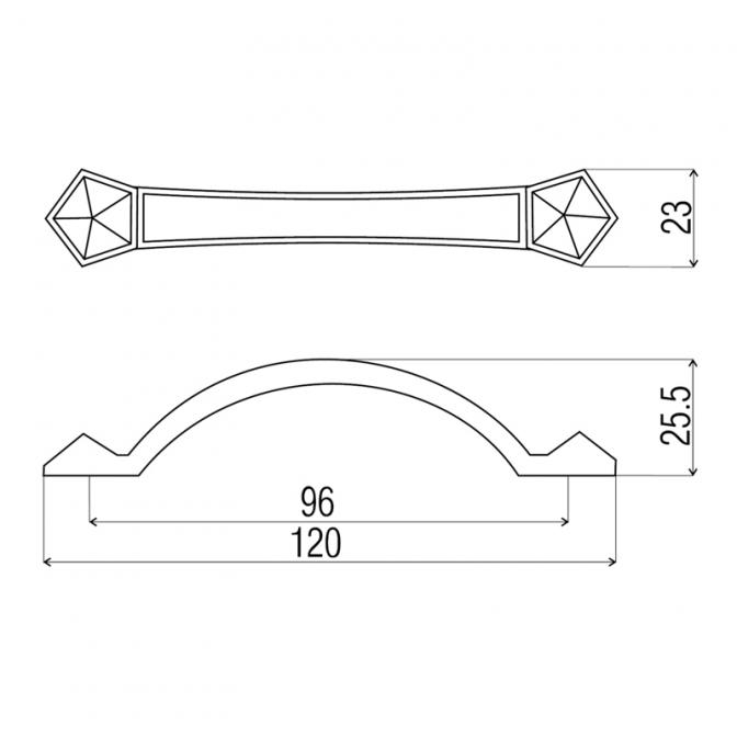 Ручка мебельная UR-07, 96 мм, бронза, DC (OL)