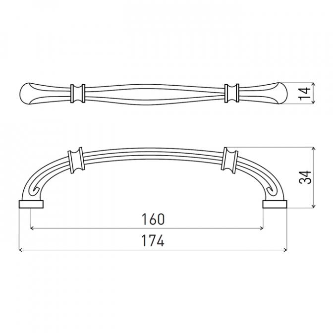 Ручка мебельная DR-49, 160 мм, бронза, DC