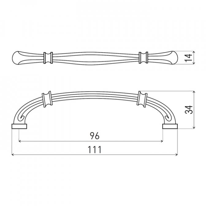 Ручка мебельная DR-49, 96 мм, бронза, DC