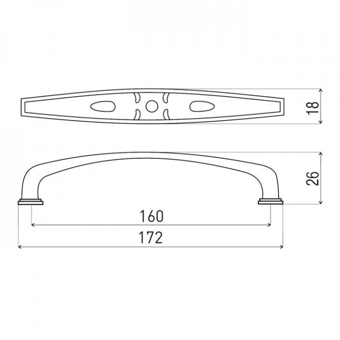 Ручка мебельная DR-52, 160 мм, никель тёмный, DC