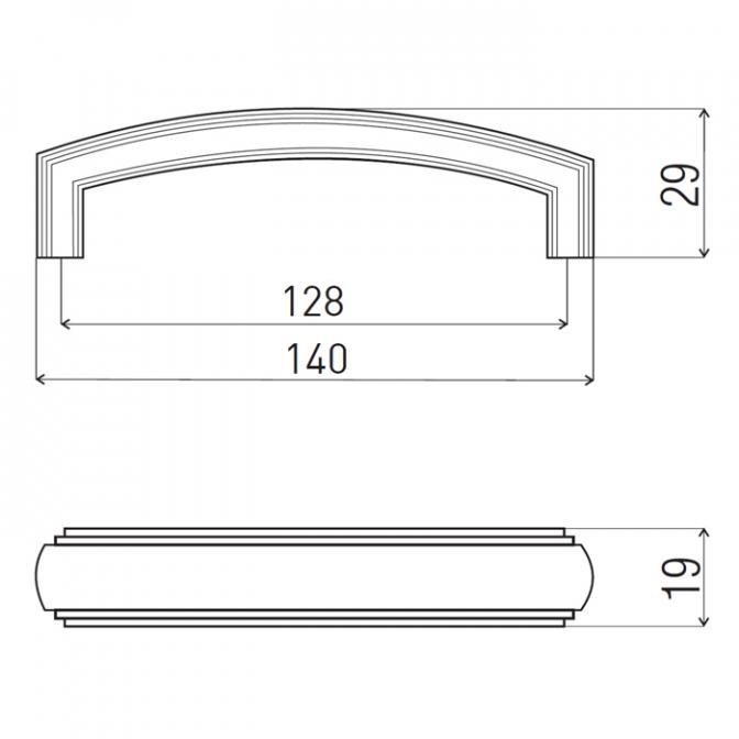 Ручка мебельная DR-53, 128 мм, никель тёмный, DC