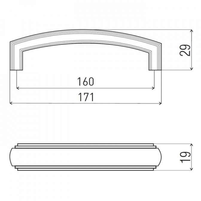 Ручка мебельная DR-53, 160 мм, бронза, DC