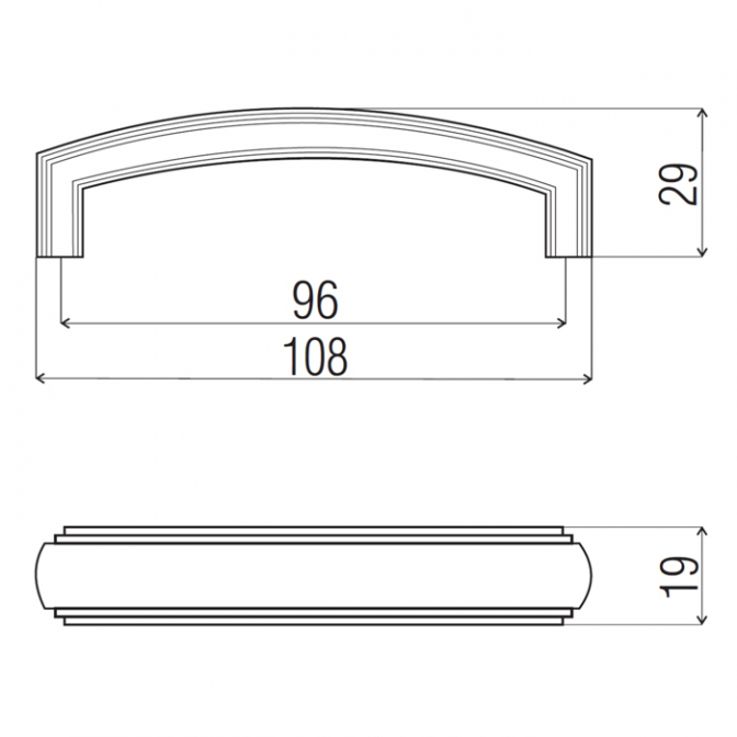 Ручка мебельная DR-53, 96 мм, никель тёмный, DC
