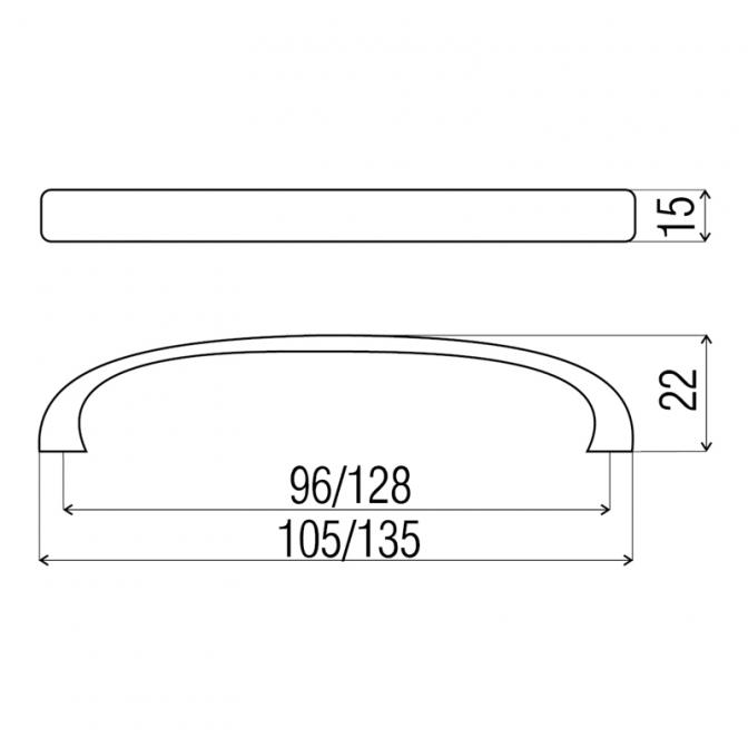 Ручка мебельная DN-45, 128 мм, сатин, DC