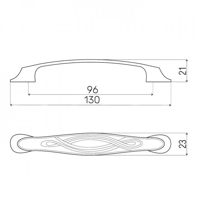 Ручка мебельная 6706, 96 мм, бронза