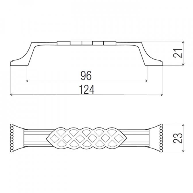 Ручка мебельная 5542, 96 мм, бронза