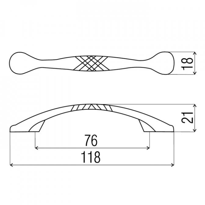 Ручка мебельная D-100, 76 мм, бронза, DC (OL)
