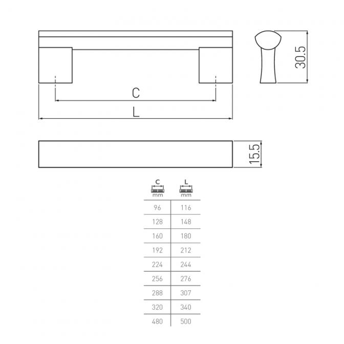 Ручка мебельная UA-B311, 288 мм, алюминий, GTV