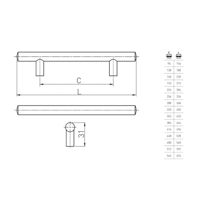 Ручка мебельная RE-10, 160 мм, античная медь, GTV