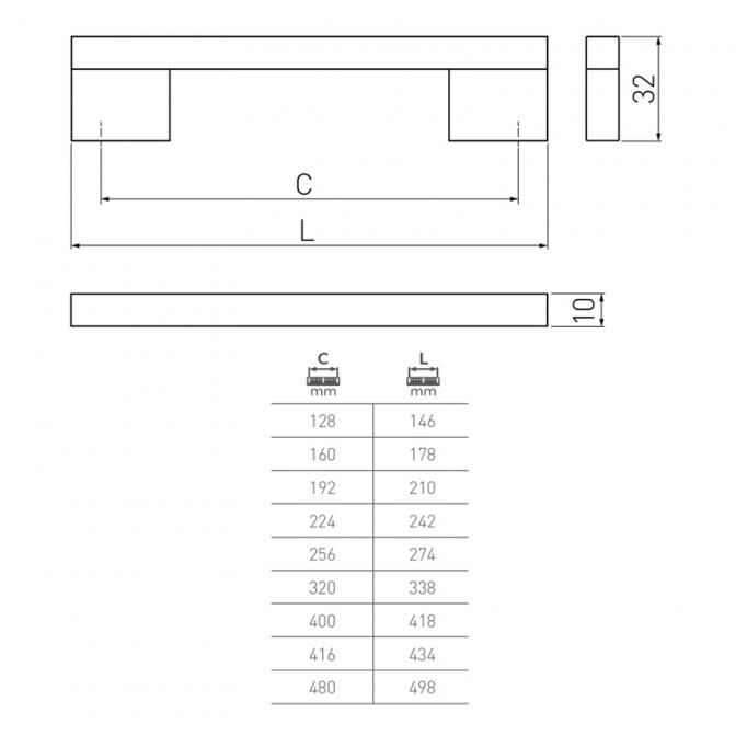 Ручка мебельная UA-18, 192 мм, алюминий, GTV