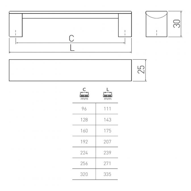 Ручка мебельная Ares, 96 мм, чёрная, GTV